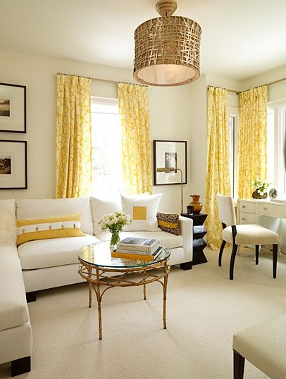 Sarah Richardson design - very pretty yellow curtains. A great neutral design that can be easily changed. This looks springy.
