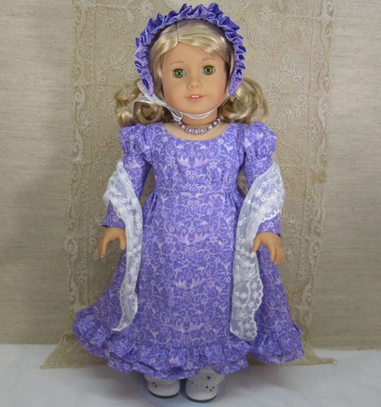 LAVENDER LOVEBIRDS Regency DRESS with pantalettes, bonnet and necklace for American Girl Doll Caroline, Cecile, Marie Grace. $125.00, via Etsy.