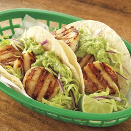 Scallop Tacos with Cabbage Slaw and Avocado Sauce