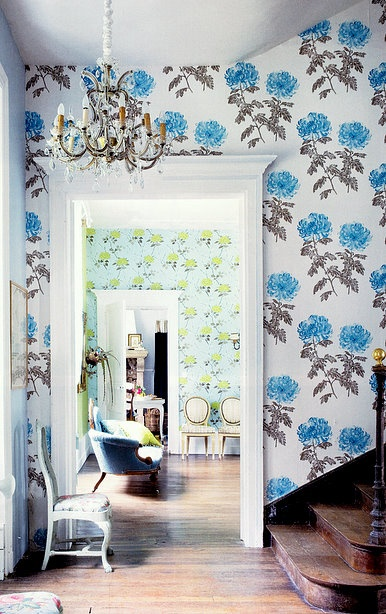 Love the wallpaper, surprisingly.  such a bright space.