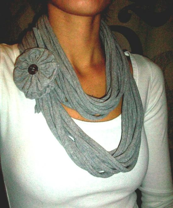 Recycled T-shirt scarf...love it!