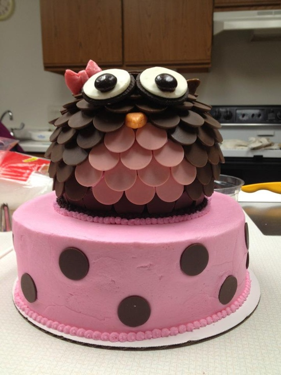 Owl cake, made with candy melts.