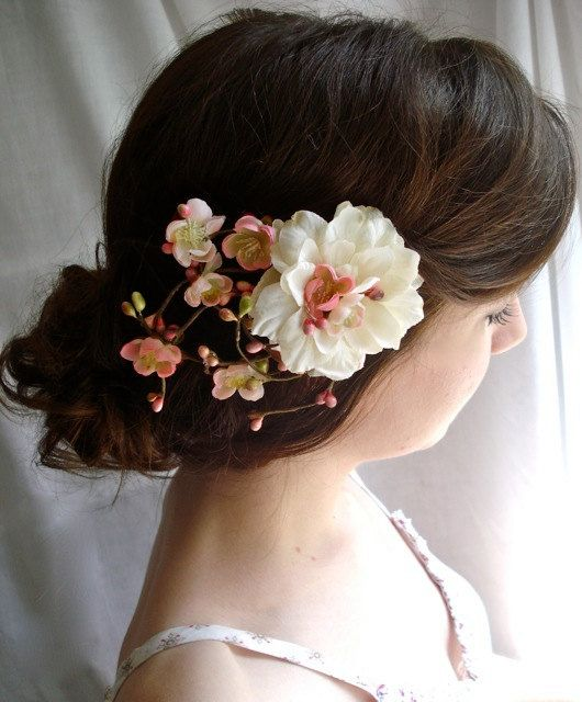 bridal flower hair clip ivory wedding hair by thehoneycomb on Etsy, $65.00