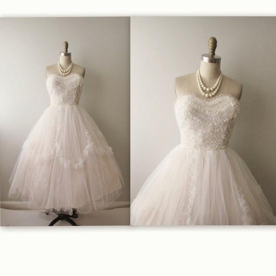 1950s Wedding Dress // Vintage 50s Strapless White Tulle Wedding Dress Gown XS. $248.00, via Etsy.