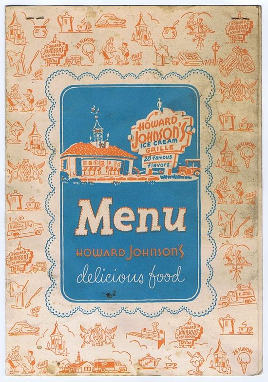 Vintage Howard Johnson Menu