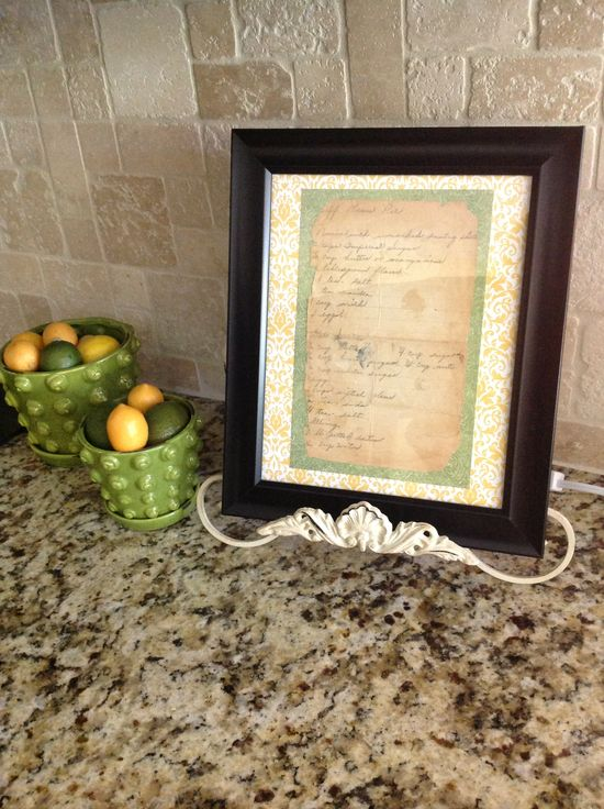 Grandmother's recipe as kitchen decor.