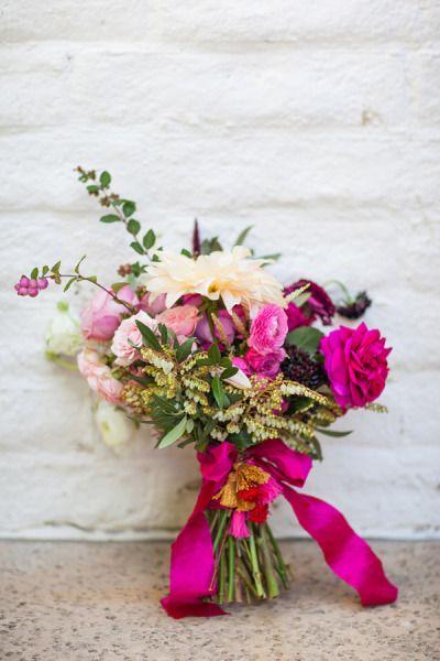 Fuchsia and cream bouquet