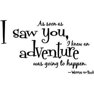 As soon as I saw you, I knew an adventure was going to happen.  --Winnie the Pooh