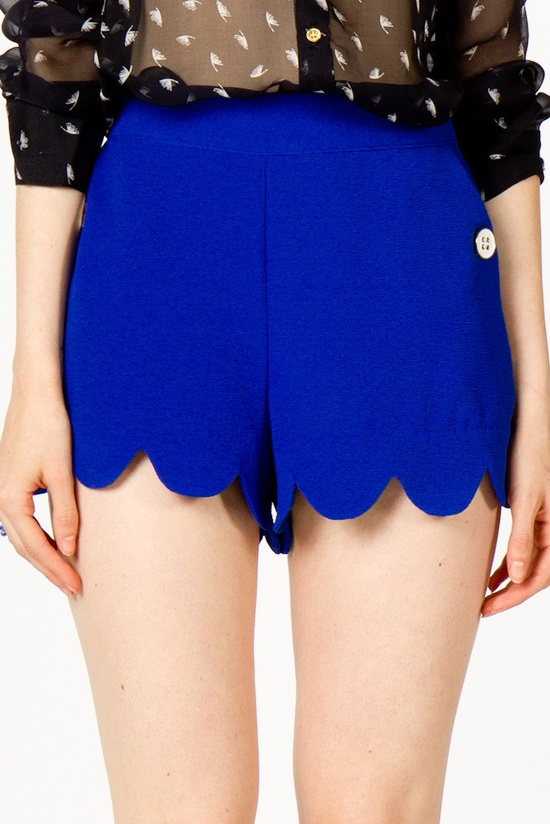 Cobalt scalloped shorts