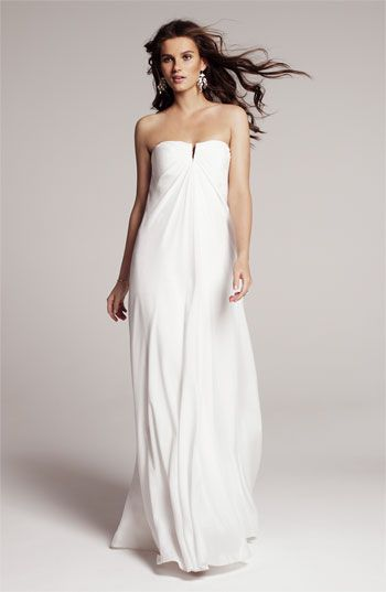 Nicole Miller Strapless Silk Chiffon Gown