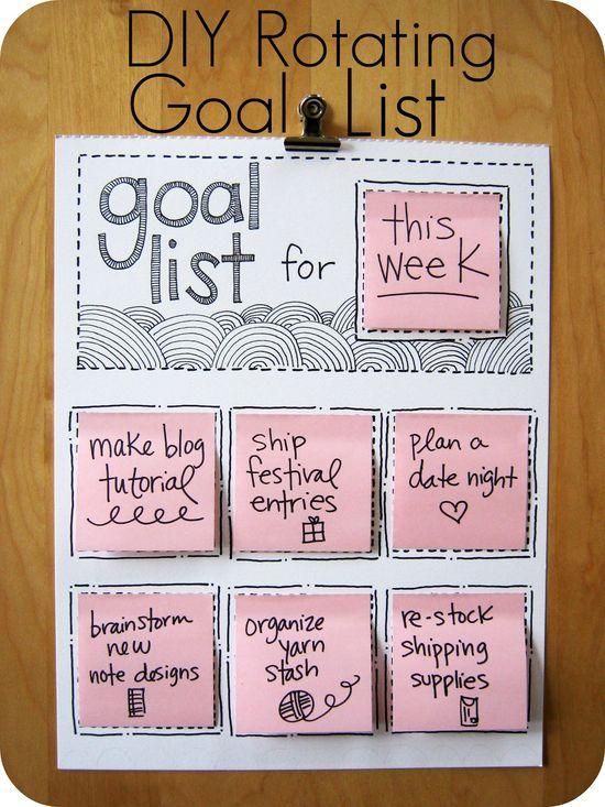 DIY: rotating goal list