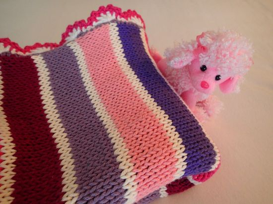 Knitted baby girl blanket, cotton