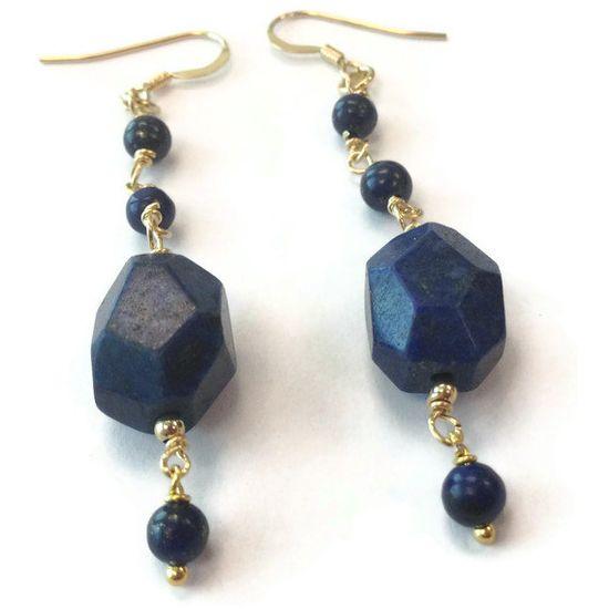 Navy Blue Earrings Lapis Earrings Yellow Gold by jewelrybycarmal, $22.00
