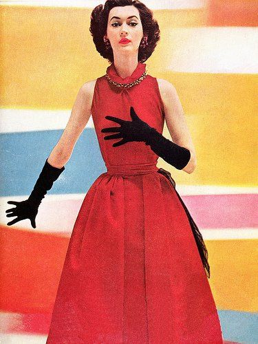 Love the (lady bug approved :) ) combo of jet black gloves and a deep strawberry red dress. #vintage #fashion #1950s #Dovima