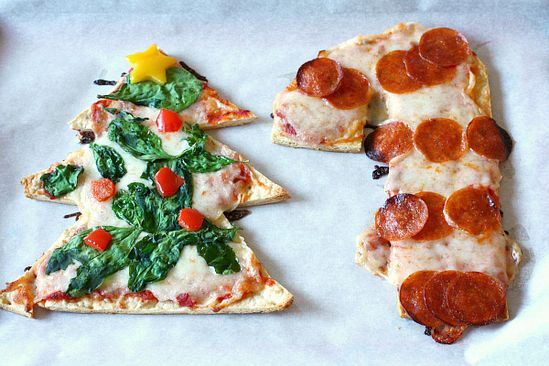 Christmas tree and candy cane shaped pizzas