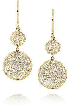 Disc 18-karat gold diamond drop earrings