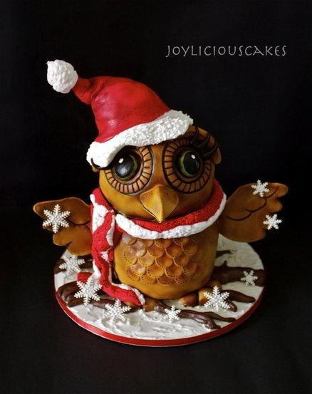 Santa Owl - by Joyliciouscakes @ CakesDecor.com - cake decorating website