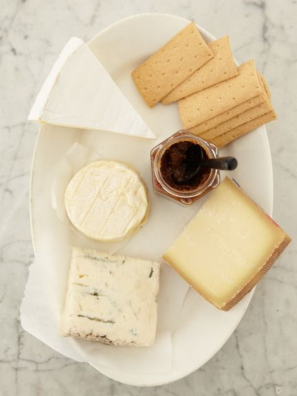Cheese, jam and crackers.