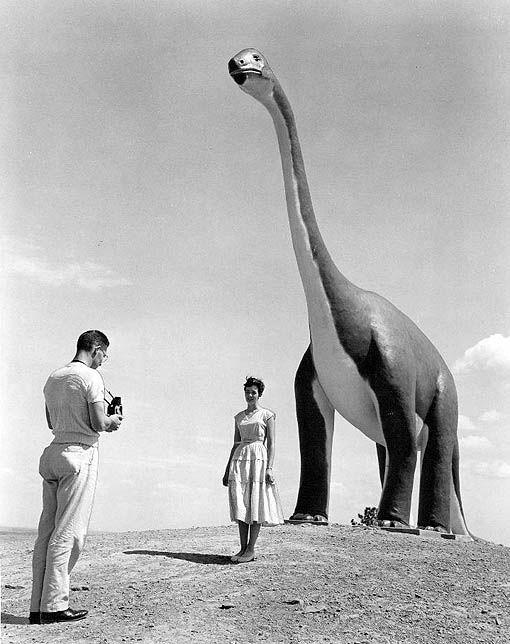 Dinosaur park in South Dakota, 1960.