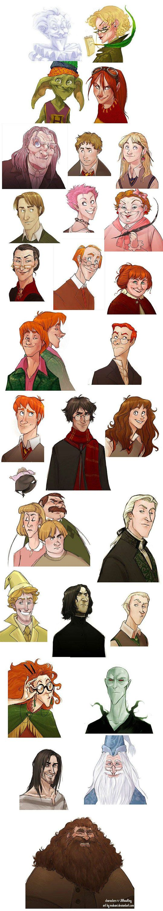 The cast of Harry Potter, in the style of Disney characters.