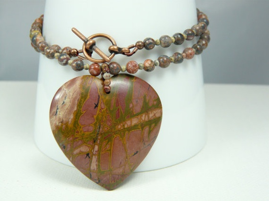 Picasso Jasper Gemstone Heart Pendant Beaded Necklace with Antique Copper Clasp