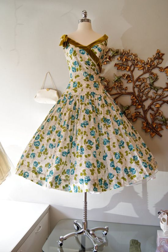 50s Dress / Vintage 1950s Blue and Green Floral by xtabayvintage, $248.00