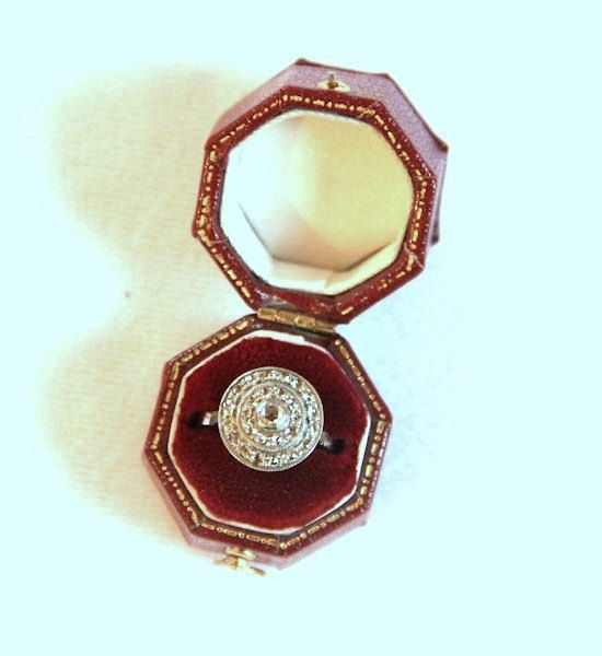 Antique 14K White Gold Rose Cut Diamonds Engagement Ring, $1650.00