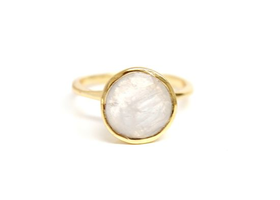 Gold Stackable Round Gemstone Ring