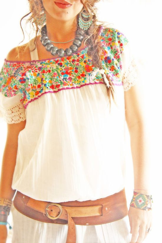 Mariana Mexican embroidered blouse intricate floral crochet off shoulder neck