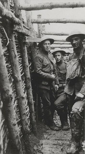 U.S. Marines in a World War I trench, circa 1918