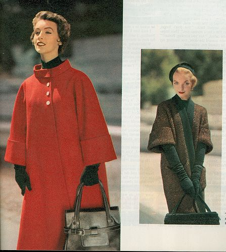 Chic, simple lines and bold colours add up to all kinds of 1950s fall coat fun and style. #coat #hat #purse #vintage #fashion #1950s