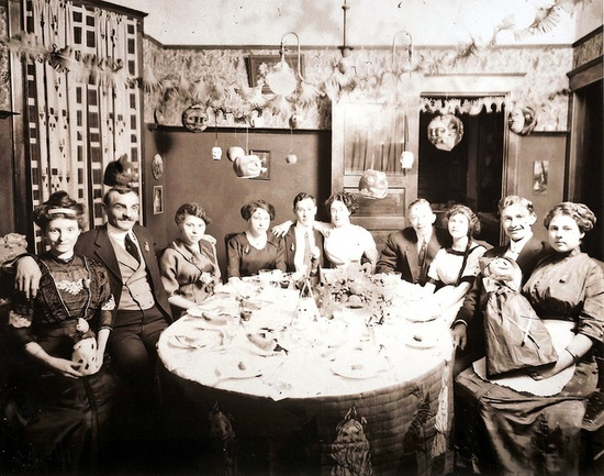 1915 photo of a Halloween party . #1910s #Edwardian #party #Halloween #vintage #decorations #photograph #antique