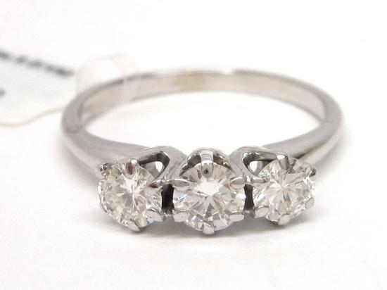 14K White Gold Diamond Three Stone Engagement Ring vintage