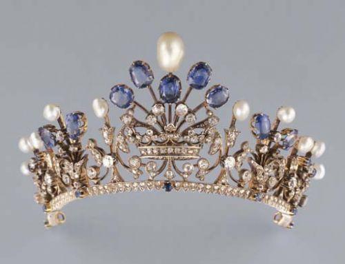sapphire diamond and pearl tiara