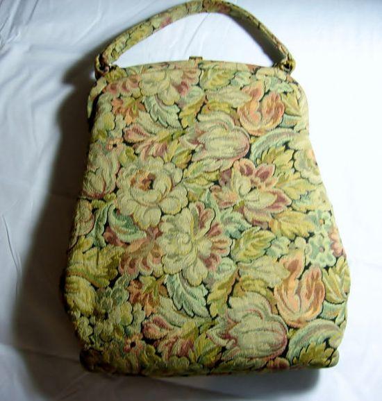 Vintage Handbag  tapestry Signed Pretty