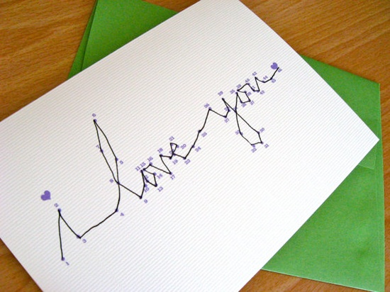 """connect the dots """" I love you card  I want to figure out how to make my own"""
