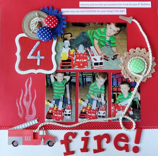 Fire! - Scrapbook.com - Love this layout. #scrapbooking #layouts #basicgrey #rangerink #kimemories #makingmemories #xyron