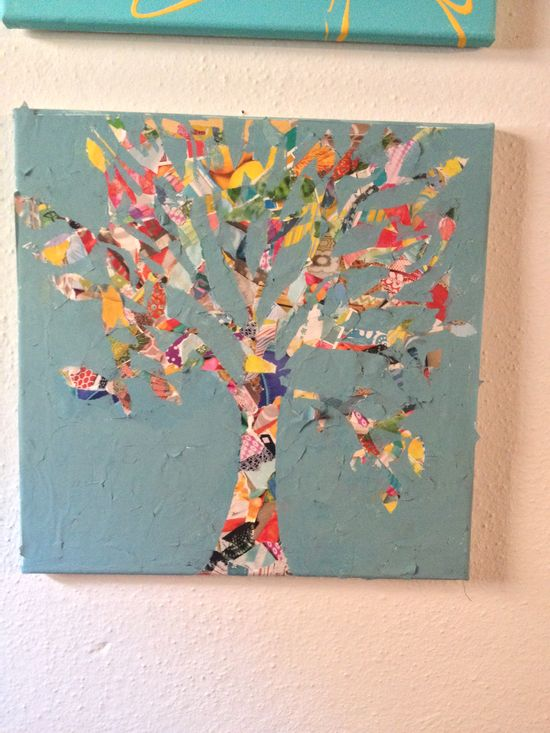 Collage tree painting