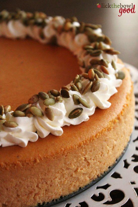 Pumpkin Cheesecake - love the generous sprinkling of pepitas on top. #food #pumpkin #cheesecake #Thanksgiving #autumn