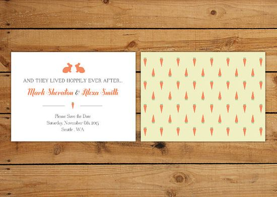 Save the Date Cards Wedding Stationery - bunny rabbits, carrots, happily ever after, garden design