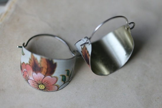 Tin Hoops- Recycled Tin Jewelry,Repurposed,Recycled,Tribal,Indian Motif,, Bohemian,Eco Friendly Jewelry