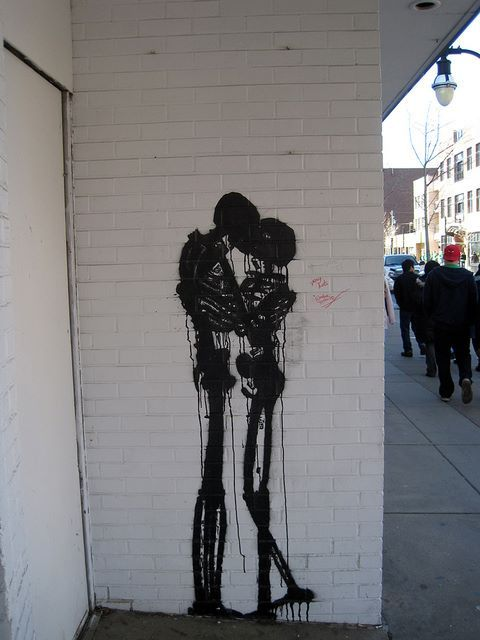 street art.   skeletons graffiti.