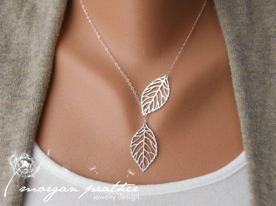 SALE  Leaf Lariat  silver grey white dainty leaf by morganprather, $19.00