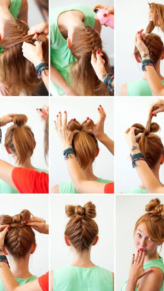 Backwards French braid with a bow