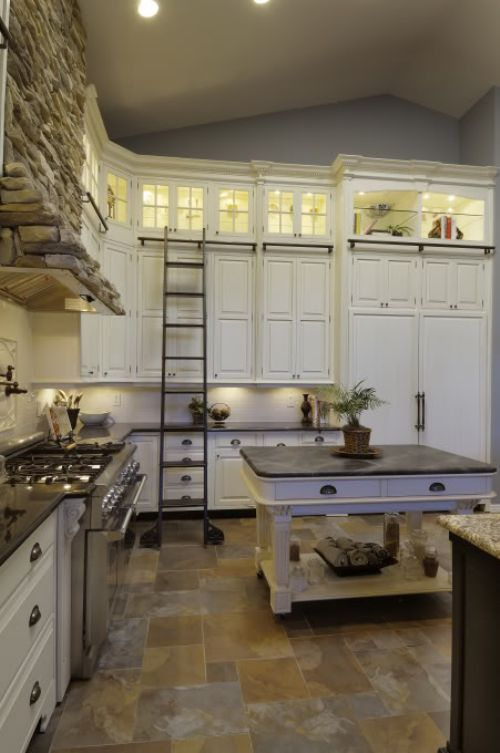 Tall kitchen cabinets.