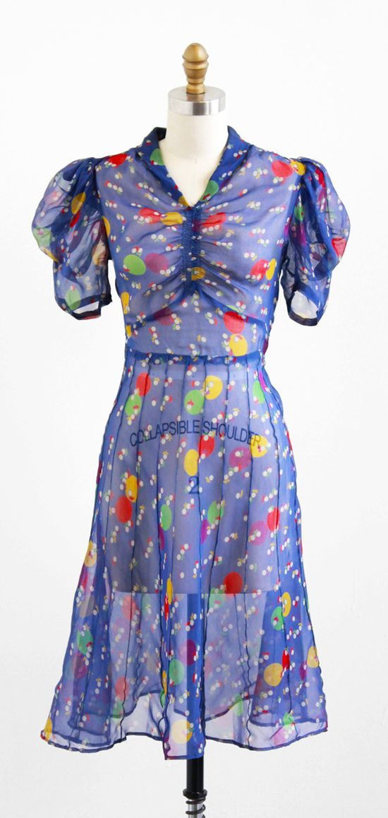 vintage 1930s sheer rainbow colored polkadot day dress.