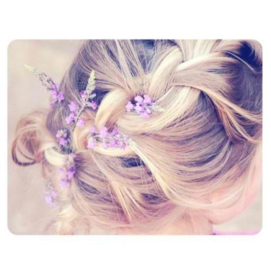 braid + wild flowers