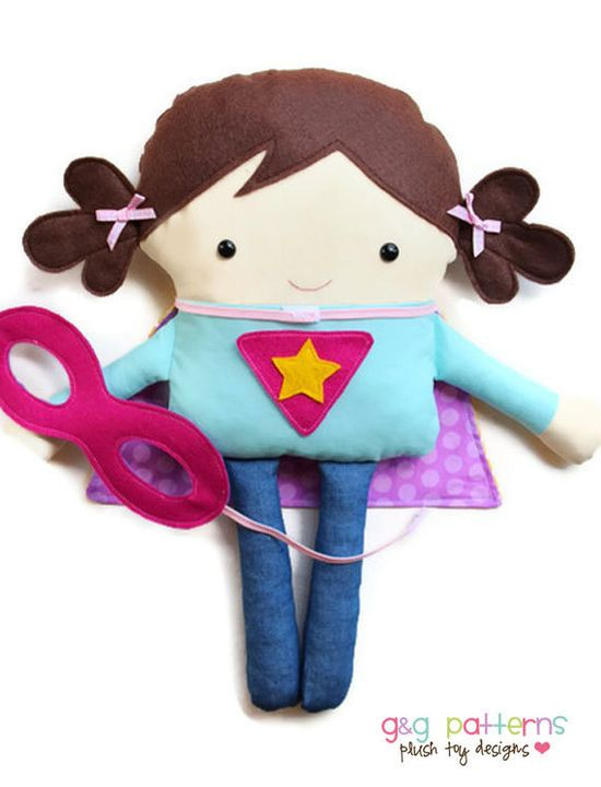 Superhero Supergirl and Superboy Toy Doll Softie PDF Sewing Pattern