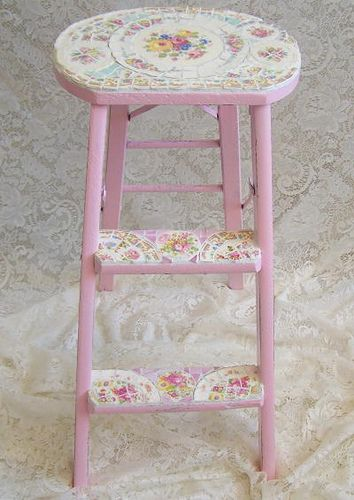 Vintage Shabby Pink Step ladder with China