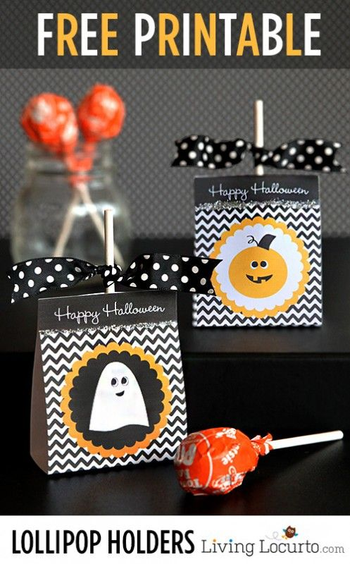 I love these Free Printable Halloween Lollipop Holders! Perfect for cute last minute favors. #freeprintables #halloween